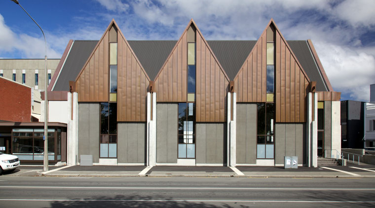 Pre-weathered copper clads the gables of Knox Church architecture, building, commercial building, facade, home, house, real estate, residential area, gray