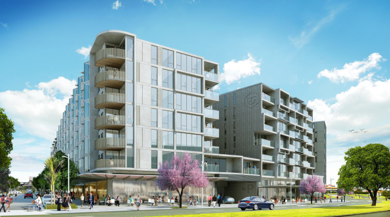 Architects perspectives of the planned Rose Garden apartments apartment, architecture, building, commercial building, condominium, corporate headquarters, elevation, facade, home, metropolitan area, mixed use, neighbourhood, property, real estate, residential area, tower block, urban design, teal, white