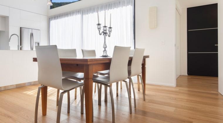 Prefinished wood floors from Forte Flooring avoid the chair, dining room, floor, flooring, furniture, hardwood, interior design, laminate flooring, loft, property, real estate, room, table, wall, wood, wood flooring, white