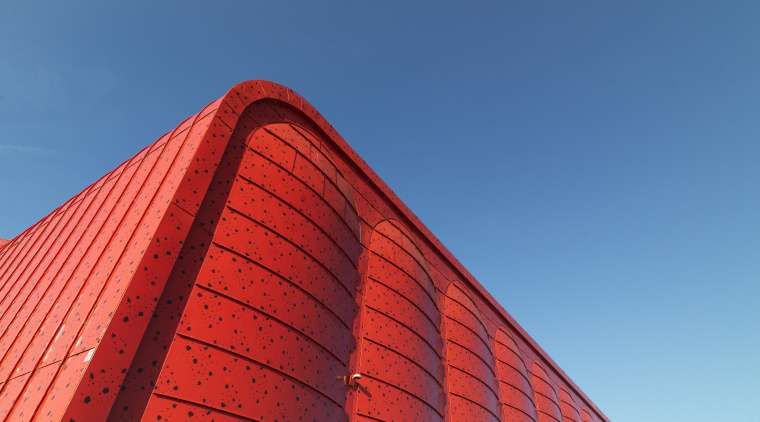 Euramax colour-coated aluminium is available in a wide angle, architecture, building, daytime, facade, landmark, line, red, roof, sky, skyscraper, structure, teal, red