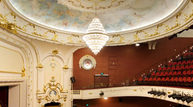Plaster Services undertook the restoration of the plasterwork architecture, auditorium, ceiling, column, daylighting, interior design, lobby, opera house, performing arts center, symmetry, theatre, wall, orange, red