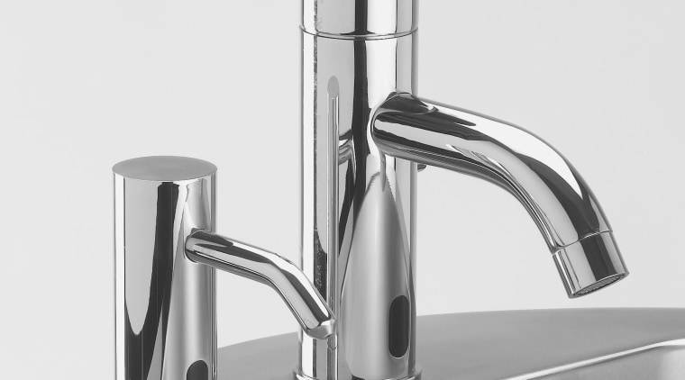 Zoom electronic faucets from Lacava automatically turn on hardware, plumbing fixture, product, product design, small appliance, tap, white, gray
