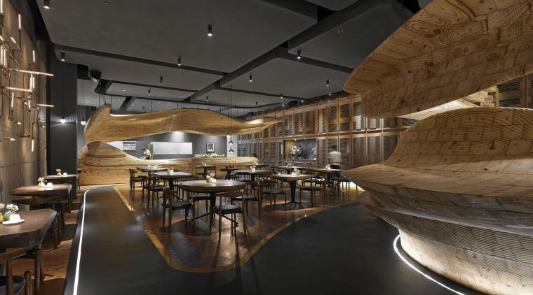In Raw restaurant in Taipei, a large wood architecture, ceiling, interior design, restaurant, black, brown