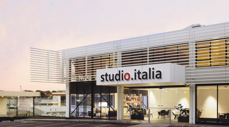 The new Studio Italia showroom in Nugent St, building, commercial building, corporate headquarters, facade, mixed use, outlet store, real estate, white