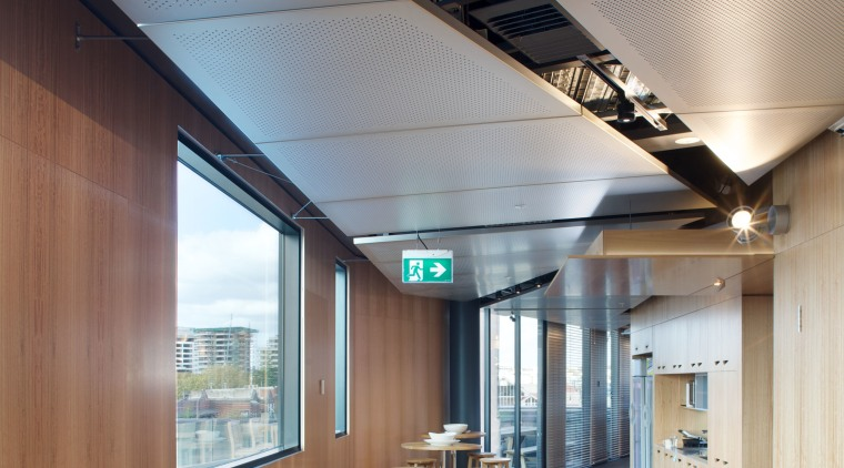 The public spaces at Lot 3 were fitted architecture, ceiling, daylighting, house, interior design, gray