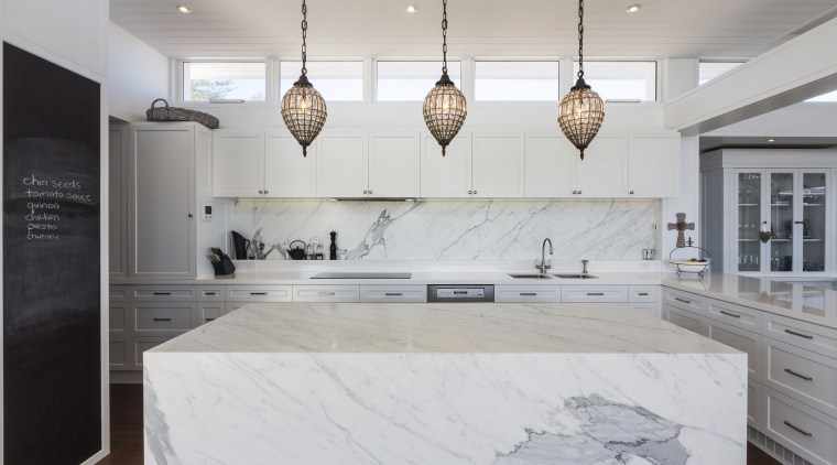 This kitchen, in a new beachfront house designed architecture, countertop, cuisine classique, floor, interior design, kitchen, room, gray