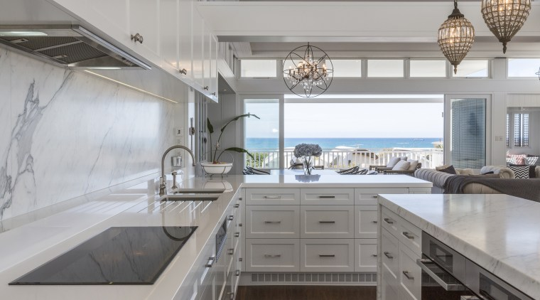 Theres a touch of the contemporary and the countertop, cuisine classique, interior design, kitchen, gray
