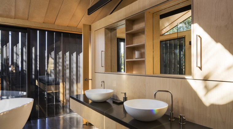 Operable louvres provide filtered sunlight and privacy for architecture, bathroom, interior design, brown