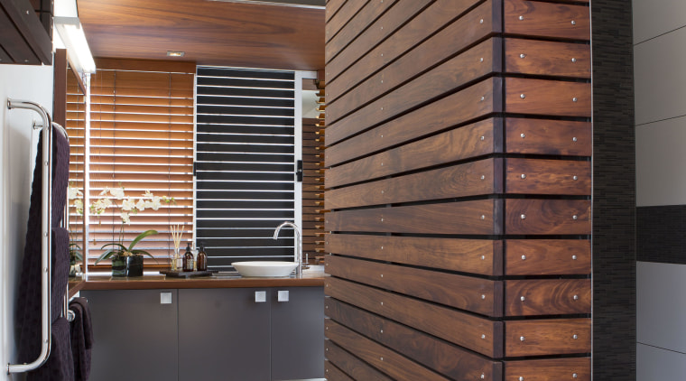 Timber slats stained in Resene Colorwood Mahogany bring architecture, cabinetry, ceiling, floor, flooring, hardwood, interior design, wall, wood, wood stain, brown