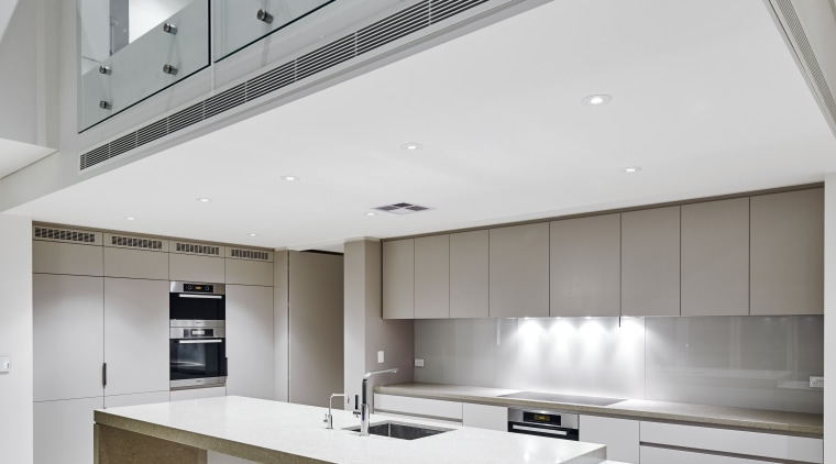 This new house built by Starr Constructions features architecture, ceiling, daylighting, house, interior design, kitchen, product design, real estate, gray