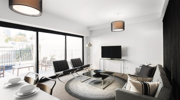 The apartment interiors at Block 7 are light-filled apartment, ceiling, interior design, living room, property, real estate, white