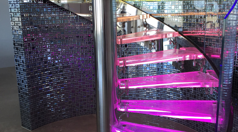 Clear glass spiral balustrade by Glasshape architecture, glass, light, lighting, purple, structure, black