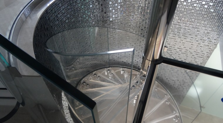 Clear glass spiral balustrade by Glasshape automotive tire, automotive wheel system, furniture, glass, product, spoke, structure, tire, wheel, gray, black