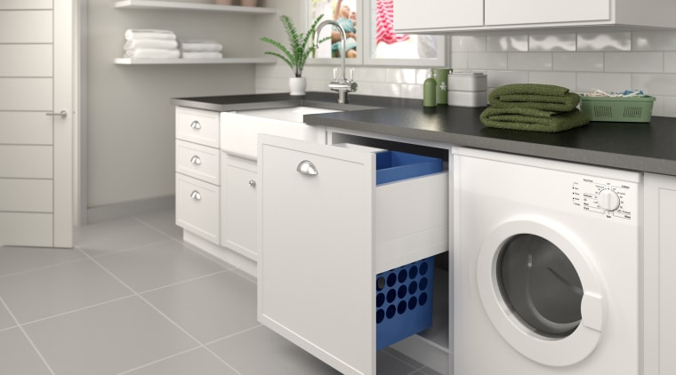 Tanova has a range of storage systems specifically clothes dryer, countertop, home appliance, kitchen, kitchen stove, laundry, laundry room, major appliance, product, product design, room, washing machine, white