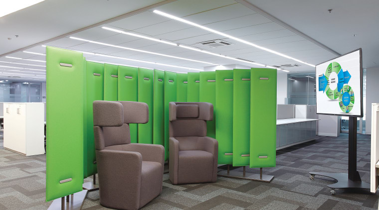 Breakout spaces and informal meeting areas in this ceiling, interior design, office, product design, gray