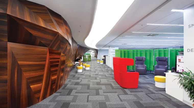 In the Clariant Chemicals office, a long wood architecture, ceiling, daylighting, floor, flooring, interior design, lobby, product design, gray