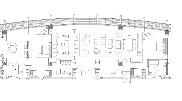 In the presidential suite at the Sunrise Kempinski angle, arch, architecture, area, black and white, design, drawing, elevation, floor plan, line, plan, product, product design, structure, white