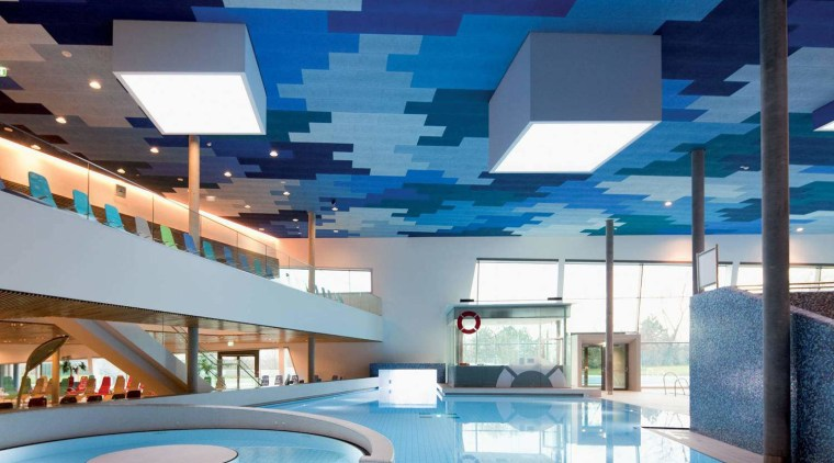 Heradesign acoustic wood wool panels from Potter Interior apartment, architecture, ceiling, condominium, daylighting, interior design, leisure, leisure centre, lobby, property, real estate, swimming pool, blue