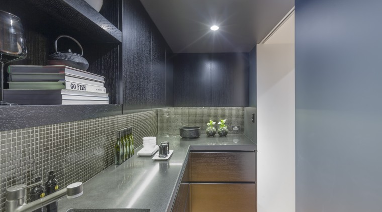 This scullery can be screened from view by architecture, countertop, interior design, kitchen, gray, black