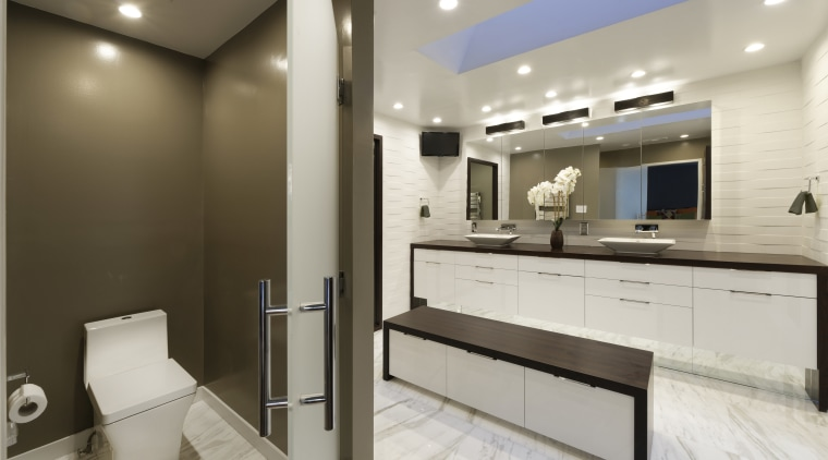In this bathroom, two u-shaped drawers below the bathroom, interior design, kitchen, real estate, room, gray, brown