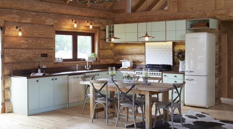 Designed by NKBA-member Heather Wood, this kitchen in beam, cabinetry, countertop, cuisine classique, floor, flooring, hardwood, interior design, kitchen, room, wood, wood flooring, brown, gray