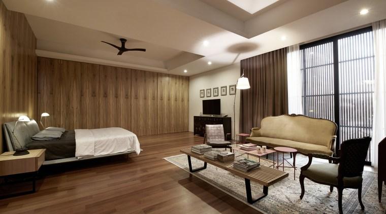 Feature wood surfaces bring visual warmth to this ceiling, floor, flooring, hardwood, interior design, laminate flooring, living room, real estate, room, suite, wall, wood, wood flooring, brown