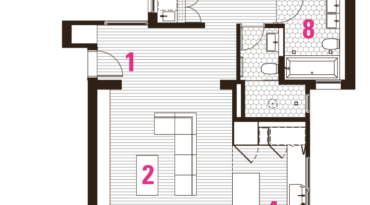 1 entry, 2 family room, 3 living room, area, design, floor plan, line, plan, product, product design, white