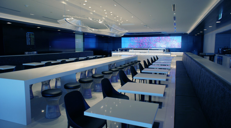 Feature spaces in Air New Zealands new International auditorium, conference hall, interior design, blue, gray