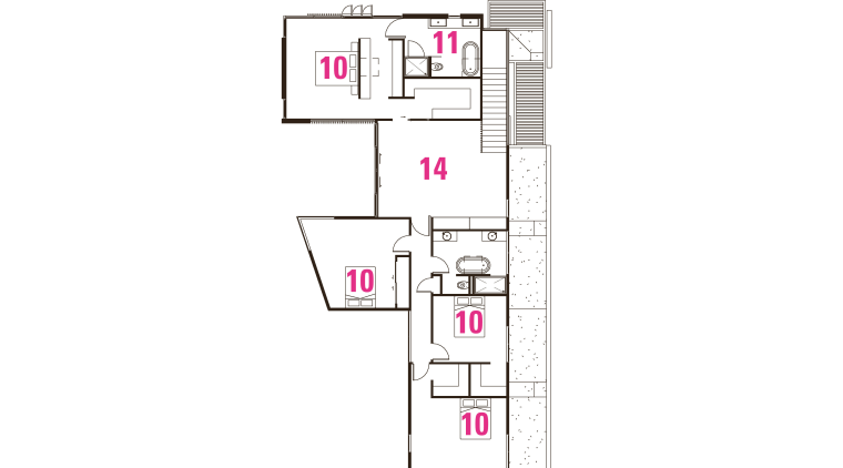 1 entry, 2 living room, 3 kitchen, 4 area, floor plan, line, product, text, white