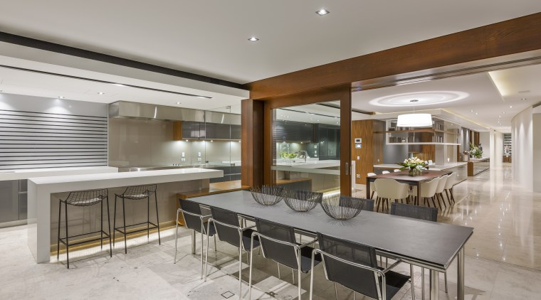 An extended view runs right through this upmarket architecture, countertop, house, interior design, kitchen, real estate, gray