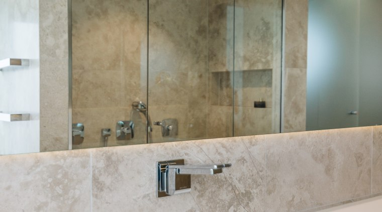 The long, floating wall mirror and glass-fronted shower bathroom, countertop, floor, interior design, plumbing fixture, room, sink, tap, tile, wall, gray