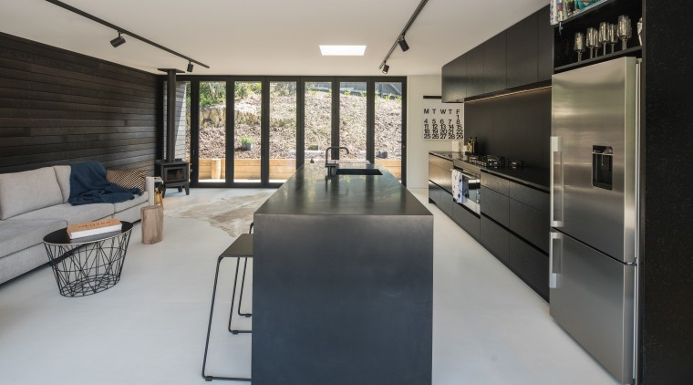 Black Corian waterfall edges on the island add architecture, house, interior design, table, gray, black
