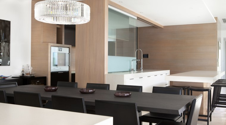 Glass, wood veneer, and dark lacquered surfaces all ceiling, interior design, kitchen, office, real estate, white