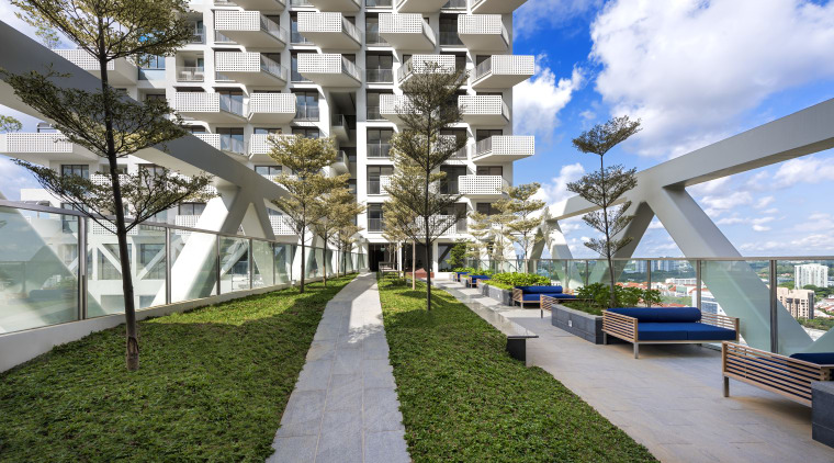 Central to Safdie Architects design of Sky Habitat apartment, architecture, building, condominium, mixed use, property, real estate, residential area, tree, urban design, white, gray
