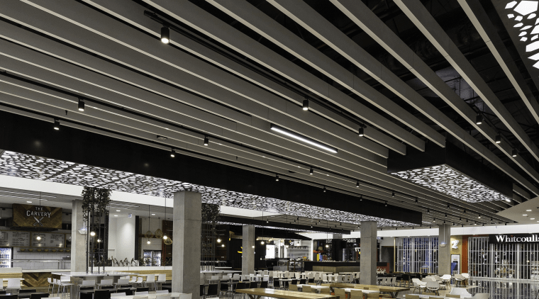 A feature fin louvre ceiling by LouvreTec graces ceiling, daylighting, interior design, gray, black