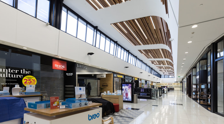 Clerestory windows run the length of the North daylighting, interior design, shopping mall, gray