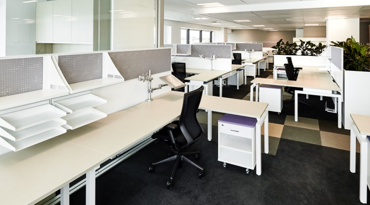 Commercial furniture specialist Crestline supplied the furniture and desk, floor, flooring, furniture, interior design, office, product design, white, black