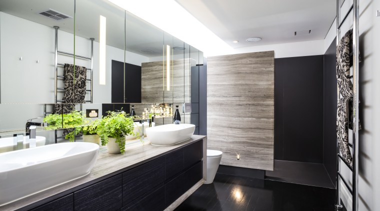 In this bathroom by designer Jason Saunders dark-veined architecture, bathroom, countertop, interior design, room, white, black