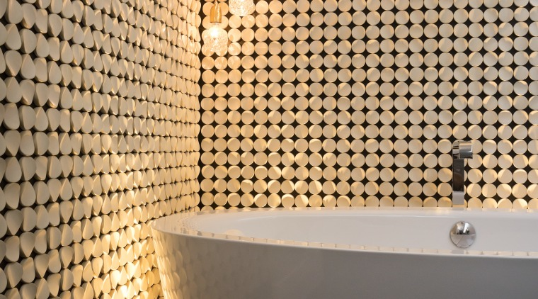 Labour of love  this feature wall was bathroom, ceiling, daylighting, floor, flooring, interior design, light, lighting, lighting accessory, pattern, tile, wall, orange