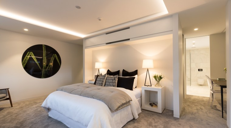 The ceilings in this upmarket apartment are enhanced bedroom, ceiling, estate, home, interior design, real estate, room, gray