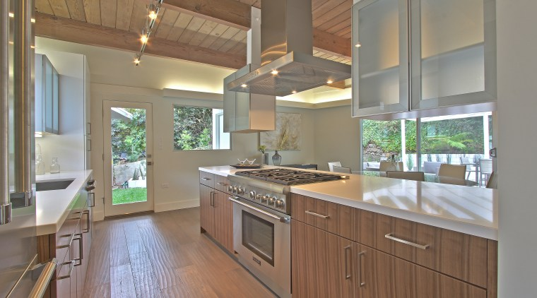 As an important part of this remodel, ceilings cabinetry, countertop, cuisine classique, estate, hardwood, home, interior design, kitchen, real estate, room, gray, brown