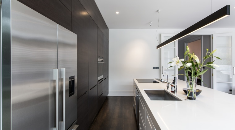For the chefs eyes only the rear of architecture, countertop, house, interior design, kitchen, white, gray, black