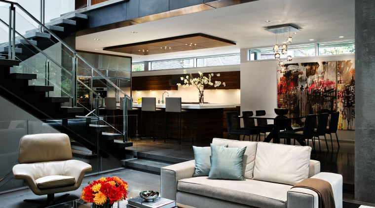 Although these interiors present as one large open interior design, living room, loft, black, gray