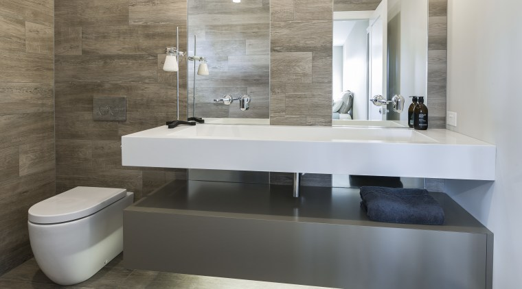 The look of timber plank tiles is matched bathroom, bathroom sink, ceramic, countertop, floor, flooring, interior design, plumbing fixture, product design, sink, tap, tile, gray