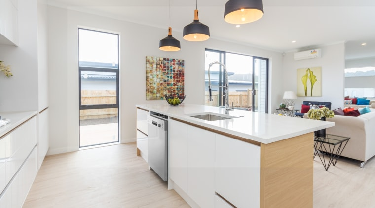 Ample counterspace near the back door provides an countertop, cuisine classique, home, interior design, kitchen, property, real estate, room, white