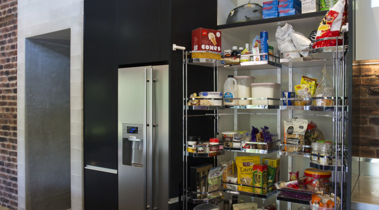 Whats behind the pantry door to the right interior design, shelving, black, gray