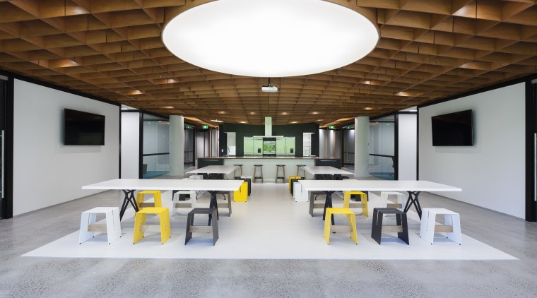 Symmetry rules in this Sydney office fit-out by architecture, ceiling, daylighting, furniture, interior design, office, product design, table, gray, brown