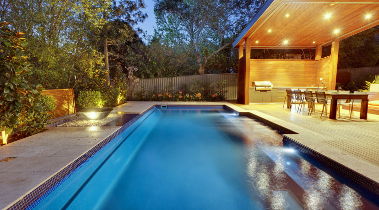 Narellan Pools offers full project management or just architecture, estate, home, house, leisure, lighting, property, real estate, reflection, resort, swimming pool, villa, water