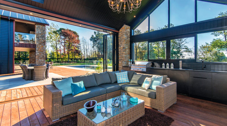 For this new home, an abundance of natural estate, home, house, interior design, living room, patio, property, real estate, black