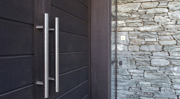 Stainless steel pulls by Chant feature at this architecture, brick, daylighting, door, facade, home, house, siding, wall, window, wood, black